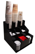 Coffee Cup Dispenser and Lid Holder Condiment Stirrer, Sugar Cup Caddy Organise and Display Your Coffee Counter with Style