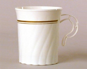 Masterpiece Plastic 240ml Coffee Cups, Ivory w/Gold Rim 8 Per Pack