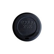 Eco-Products EP-HL16-BR EcoLid Black 25% Recycled Polystyrene Lid, For 10-20oz Hot Cup