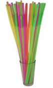 43.2cm Extra Long Flexible Neon Straws - Assorted Colours - Case of 1600