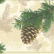 Ideal Home Range Cocktail Decorative Paper Napkins, Fir Cone on Cream, 20 Count