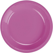 Hot Pink Plastic Dinner Plate 20 Count