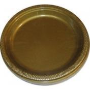 Amscan International 22.8 cm Plate Plastic, Gold Sparkle