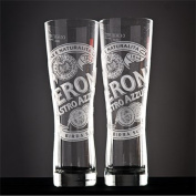 Peroni Etched Signature Italian Beer Glass | Set of 2 Glasses