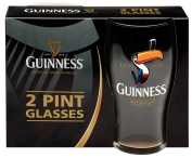 Guinness Toucan Tulip Pint Glasses (2 Pack) - Official Licenced Merchandise