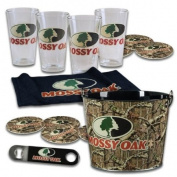 Mossy Oak® Camouflage 4-Pint Glass Set with Bucket, Coasters, and more MO-68700