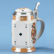 CARD PLAYER STEIN - UNIQUE BEER STEIN, The Queen of Hearts, Ace of Spades, Jack of Clubs, & Seven of Diamonds, Stoneware, Pewter Lid, Rare Four-Sided Shape, Exclusive Product