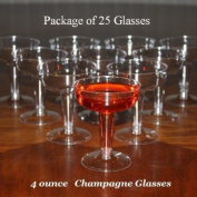 25 - 120ml Disposable Plastic Champagne or Wine Glass
