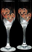 Celtic Glass Designs Set of 2 Hand Painted Champagne Flutes in a Red Celtic Double Love Knot Design.