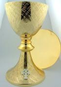 Big 21cm Church Chapel Gold Gilded Priest Celtic Chalice & Paten Pastor Gift