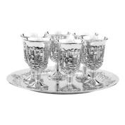 Silver Plated Jerusalem Designed Liquor Stemmed Cup Set; Set Of 6