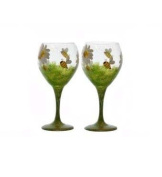 ArtisanStreet's Set of 2. Daisy & Bumblebee Wine Goblets. Hand Painted, Made to Order, Signed