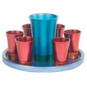 Yair Emanuel Anodized Aluminium Kiddush Set with Tray in Turquoise and Red