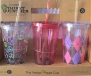 Ecoone 3 470ml Thirst Quencher... 3 Double Wall Insulated Plastic Cup with Straw and Spillproof Lid...assorted Designs....BPA free