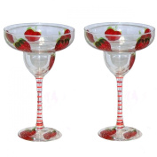 ArtisanStreet's Strawberry Margarita Glasses. Set of 2. Hand Painted, Made to Order, Signed