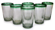 Clear and Green Blown Drinking Glasses, 'Conical'
