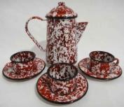 Tea For 3, Children's Enamelware Tea Set, Red Marble