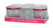 Arc International Luminarc Working Glass, 410ml with Red Lids, Set of 6