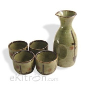 Japanese 5 Pc Sake Carafe & Cup Set Green & Cherry Blossoms