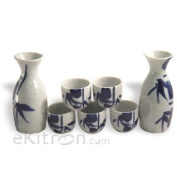 7 piece Japanese Sake Set With White/Blue Bamboo Design