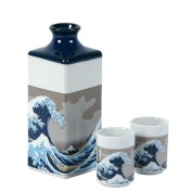 Miya Wave Sake Set Set Of 3 J2168