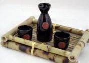 Glazed Ceramic 3 Pcs Japanese Sake Set In Gift Box