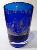 New York USA Cobalt Blue Shot Glass