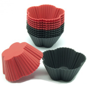 Freshware CB-309 12-Pack Mini Cherry Flower Silicone Reusable Baking Cup