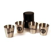 Jack Daniels 4 Steel Shot Glass Set - 30ml each
