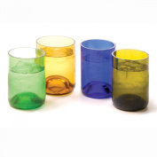 Oenophilia Recycled Glass Wine Bottle Tumblers, Assorted Colours - Set of 4