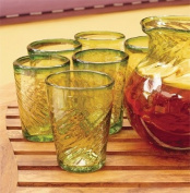 Green Blown Glass Drinking Glasses, 'Contoured'