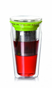 Tea Beyond Eco Tumbler Double Wall Glass 440ml with stainless steel strainer Heat resistant Perfect for Office and Home