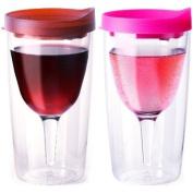 Vino2Go Set of 6 Double Wall Insulated Acrylic Wine Tumbler (3 Merlot, 3 Pink) 300ml