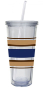 Cypress Home 590ml Insulated Cup With Lid and Straw, Blue and Brown Stripes