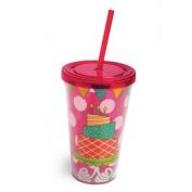 Insulated Cup w/Straw 500ml & Twist Off Lid, Birthday Cake