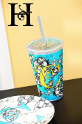 Cypress Home Gablecrest Monogrammed 500ml Insulated Cup With Lid and Straw, Letter H