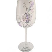 Sweet pea wine glass 70th birthday