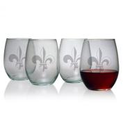 Susquehanna Glass Fleur De Lis 440ml Stemless Wine Glass, Set of 4