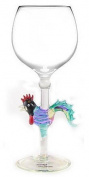 Hand-blown Rooster Wine Glass by Yurana Designs - W116