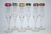 Italian Hand Painted 22.9cm Flute Champagne Glass With 14K Gold Rim With 6-piece Multicolor set of 6 Free Ship. GS1506-ITE