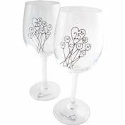 25th Wedding Anniversary Wine Glasses Pair