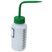 Vestil BTL-WW-8G-LBL Wide Mouth Low Density Polyethylene (LDPE) Round Squeeze Wash Bottle with Label Green Cap, 240ml Capacity, Translucent
