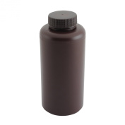 Vestil BTL-UVW-32 Wide-Mouth Low Density Polyethylene (LDPE) Round UV Plastic Bottle with Natural Cap, 950ml Capacity, Amber