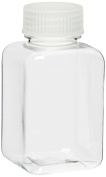 Vestil BTL-SW-8C Wide-Mouth Polyethylene Terephthalate (PET) Square Plastic Bottle with Natural Cap, 240ml Capacity, Clear