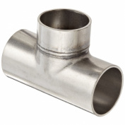 Dixon B7WWW-G150U Stainless Steel 304 Sanitary Fitting, Unpolished Weld Short Tee, 1-1.3cm Tube OD