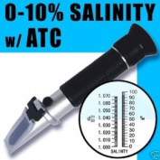 Automatic Temperature Compensation Sea Water Salinity Refractometer for Aquarium, 0% - 10% & 1.0 to 1.070 S.G. DUAL SCALE Hydrometer By AdeAdvancedOptics