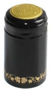Black/Gold Grapes PVC Shrink Capsules for Wine Making - 30 per bag