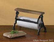 Park Designs Vintage Style Wood & Black Cast Iron Counter Paper Towel Holder