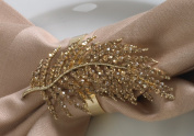 Jewelled Fern Leaf Gold Elegant Napkin Rings. Set of 4.