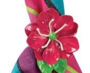 Mod Hot Pink Flower Shaped Napkin Rings Set of 4 Split P